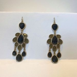 Black and Gold Chandelier Earrings
